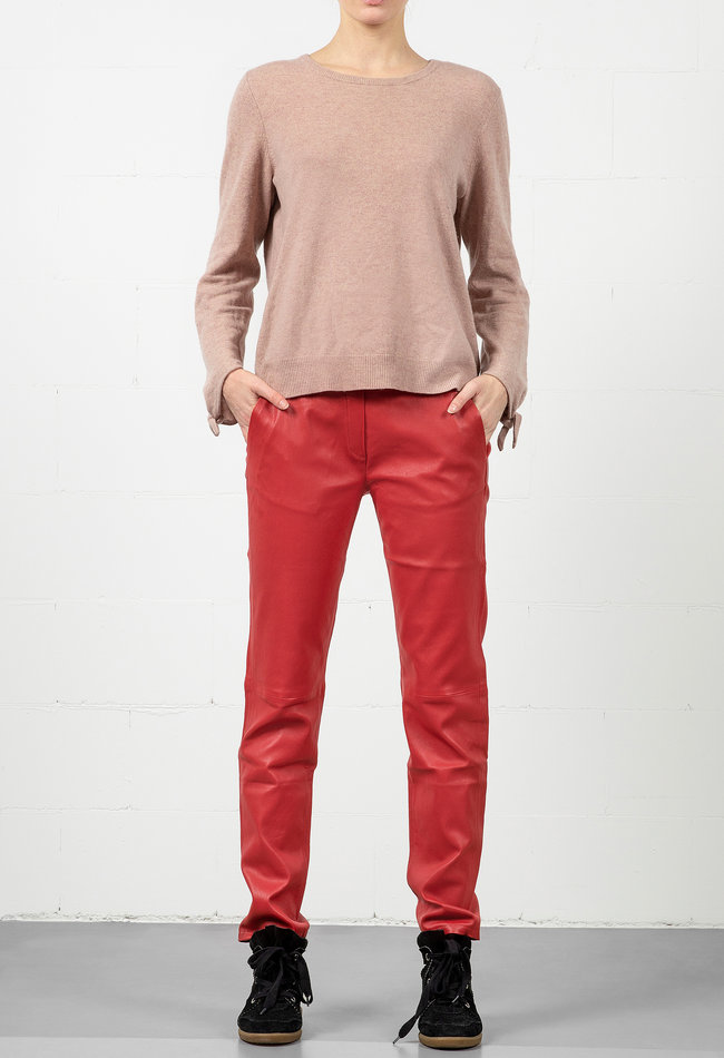 ZINGA Leather Boyfriend pants real leather ladies red | Rena 6400