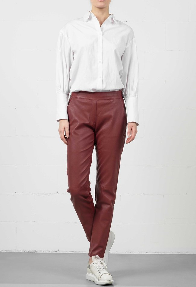 ZINGA Leather Boyfriend pants real leather ladies dark red | Rena 6700