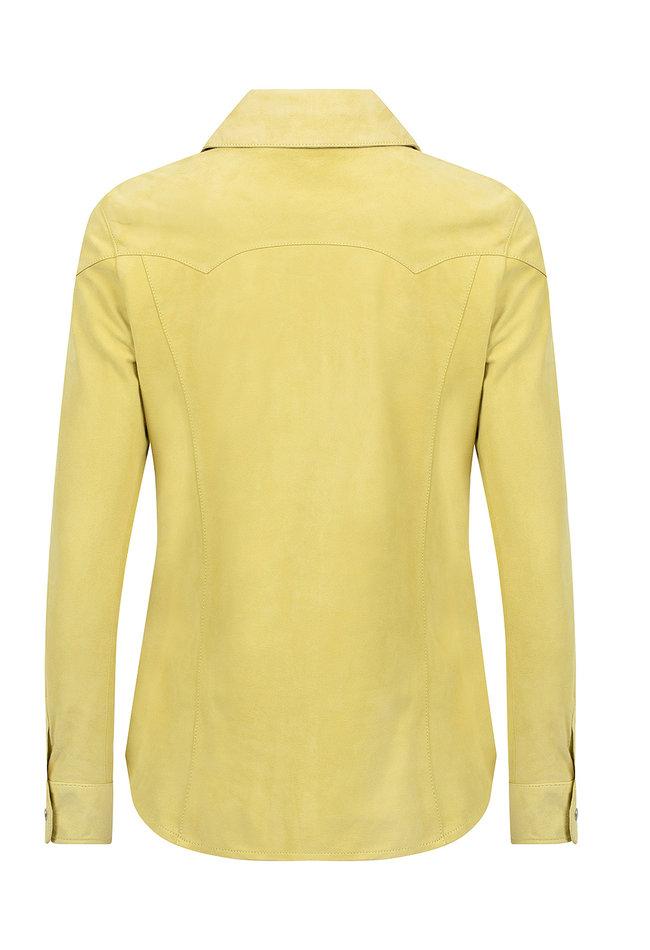 ZINGA Leather Echtes Leder, Wildlederbluse Damen gelb | Anna 2741
