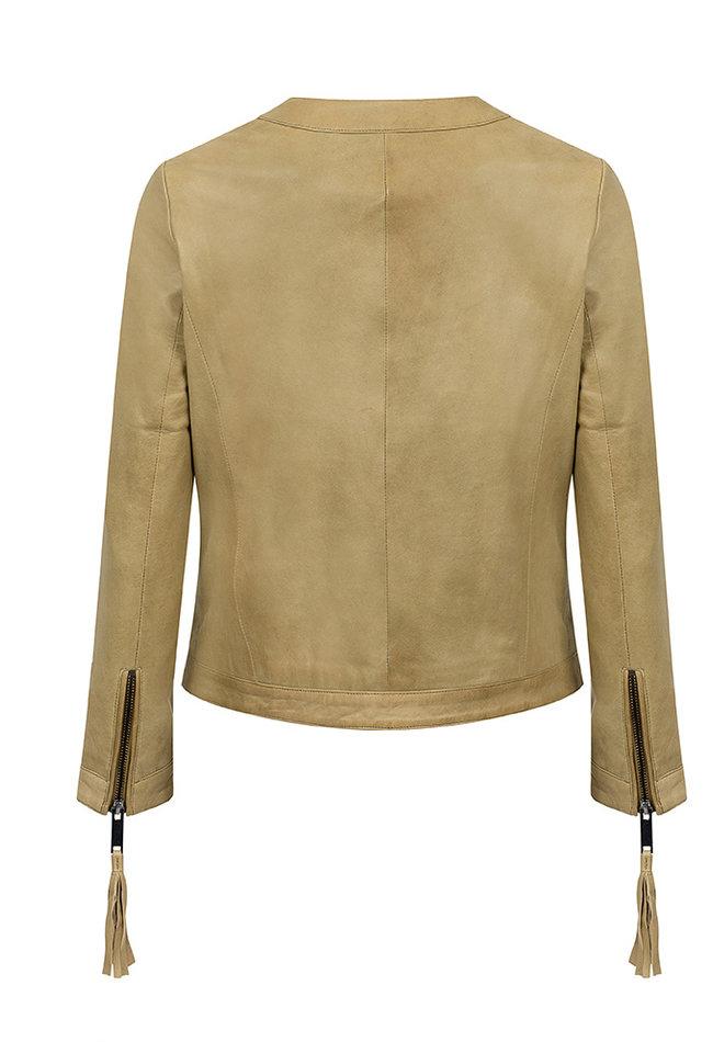 ZINGA Leather Genuine leather jacket ladies green   Elin 5929