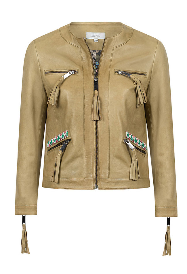 ZINGA Leather Genuine leather jacket ladies green | Elin 5929
