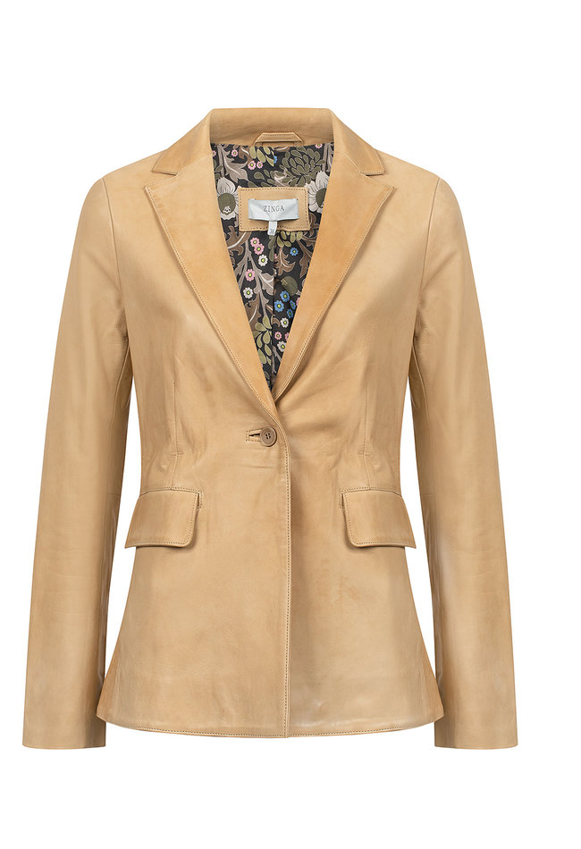 ZINGA Leather Genuine leather blazer ladies ecru | Isabel 5334