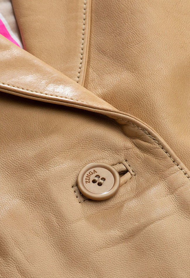 ZINGA Leather Echt leer blazer dames ecru | Isabel 5334