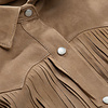 ZINGA Leather Genuine leather, suede blouse ladies ecru | Keira 2334