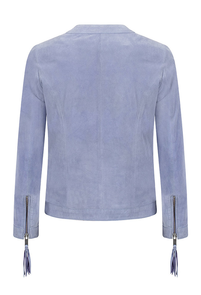 ZINGA Leather Genuine leather, suede ladies jacket blue | Tess 2460