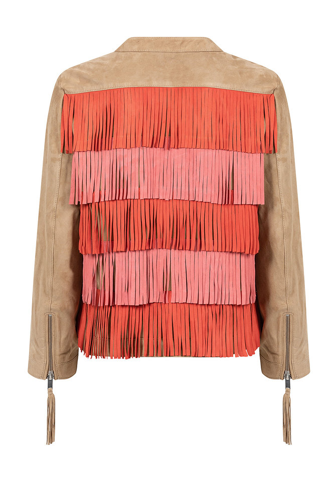 ZINGA Leather Genuine leather, suede ladies jacket ecru