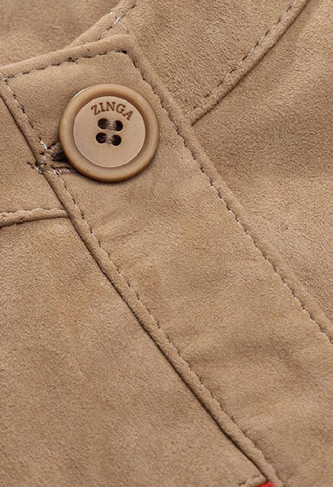 ZINGA Leather DAMEN-FRANSENJACKE AUS VELOURSLEDER IN ECRU / ROT | YARA 2334