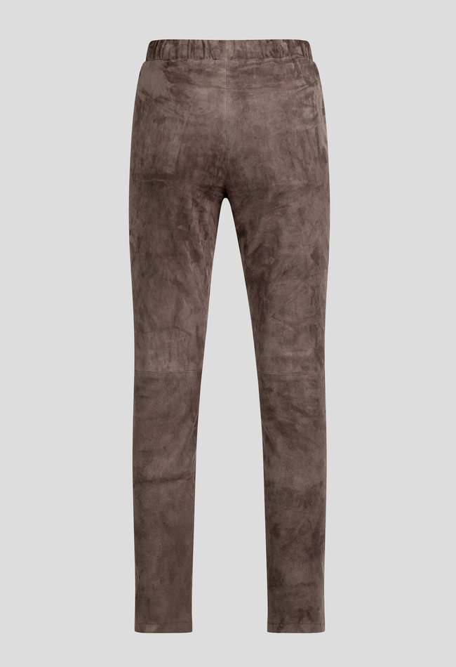 ZINGA Leather LEDER-JOGPANTS DAMEN IN STEINGRAU AUS VELOURSLEDER | GEORGE 4700