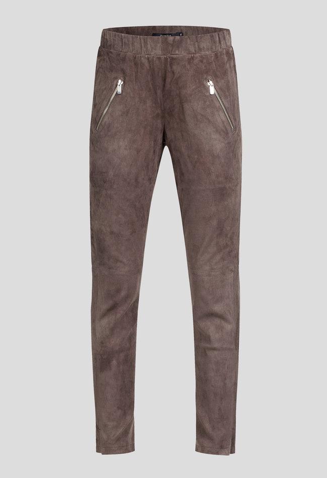 ZINGA Leather Echt suede broek dames stone grijs| George 4700