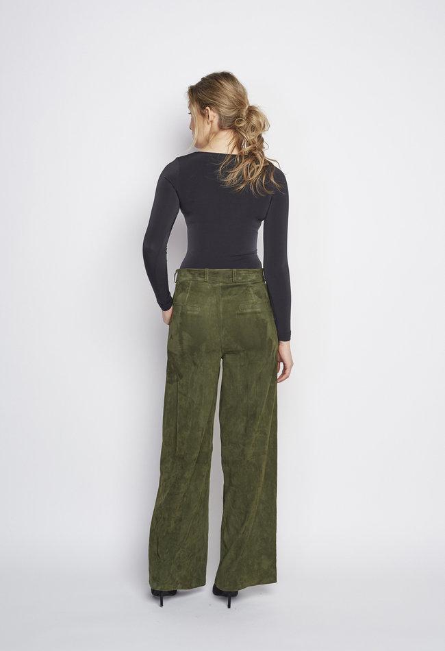 ZINGA Leather Echt leer broek dames groen | AMY 4210