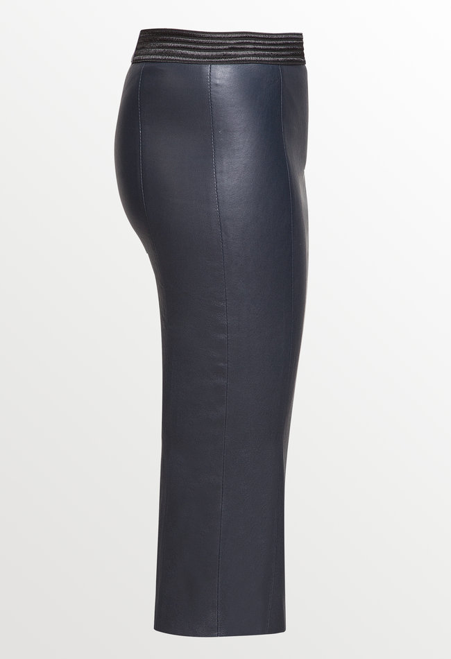 ZINGA Leather Real leather pencil skirt women navy | Coco 6200