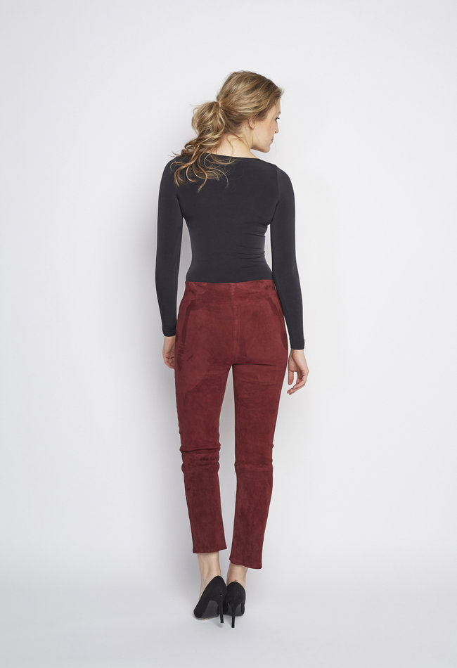 ZINGA Leather DAMENLEDERHOSE CROPPED STRAIGHT LEG BORDEAUX | LINA 4521
