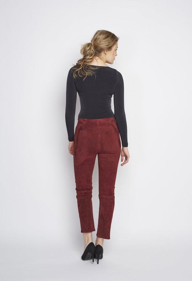 ZINGA Leather Echt leren broek dames Bordeaux   Lina 4521