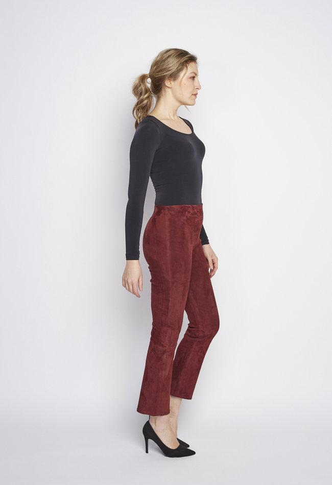 ZINGA Leather Real leather pant women Bordeaux   Lina 4521