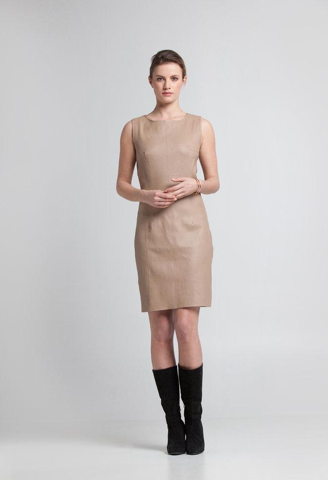 ZINGA Leather Jurk echt leer dames ecru | Sabine 6101