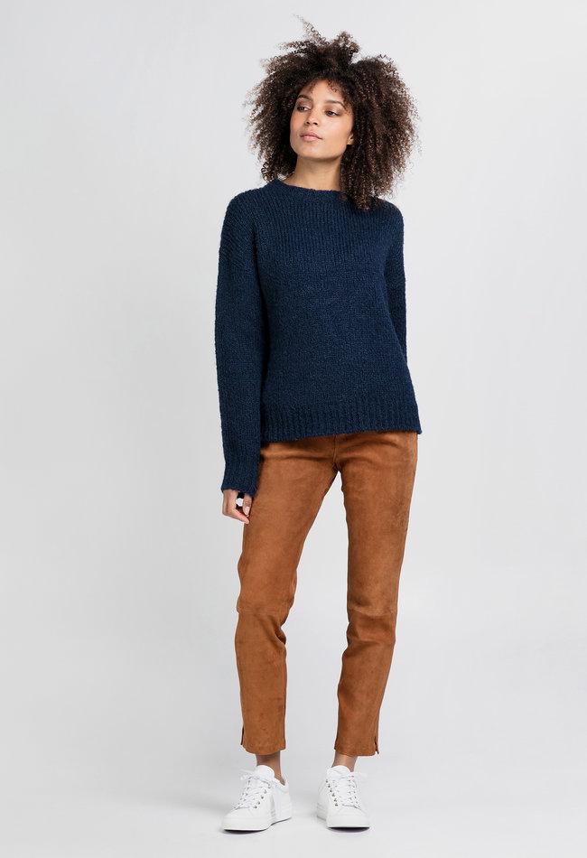 ZINGA Leather Boyfriend pants suede, real leather ladies cognac | Noah 4400