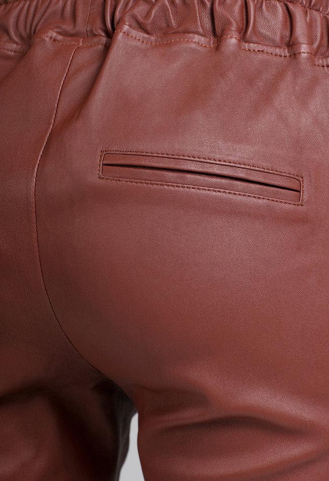 ZINGA Leather Boyfriend broek echt leer dames merlot | Noah 6310