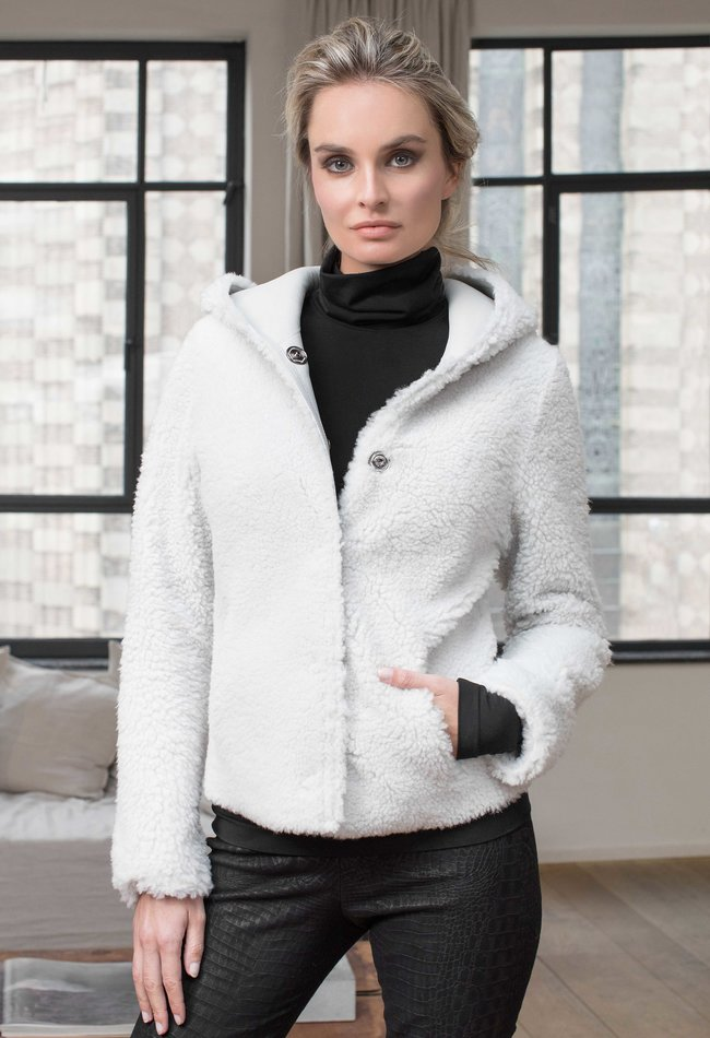 ZINGA Leather Real reversible lambskin coat women white | Pam 8300