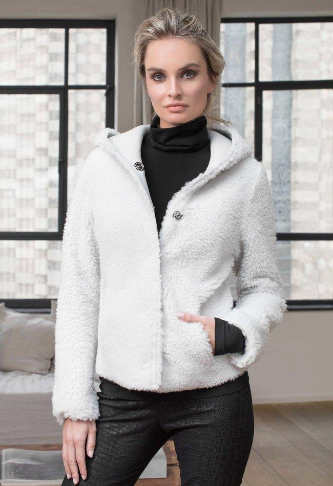 ZINGA Leather Reversible Jas van lamsleer dames wit   Pam 8300