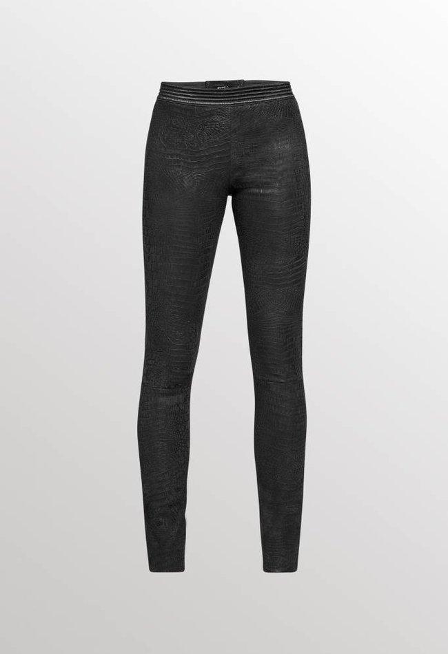 ZINGA Leather Echt leer, suede dameslegging Black Croco | Uma 3999