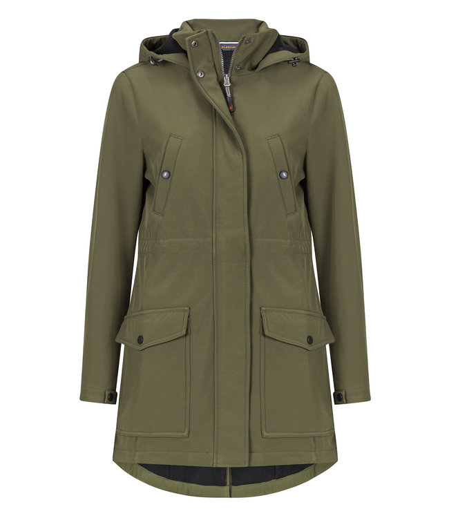 Life-Line Atabe Ladies Lined Softshell Parka - Green