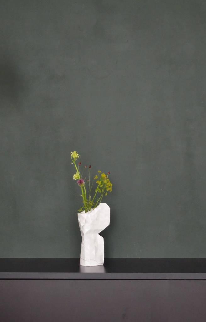 Paper Vase Cover Marble White-3