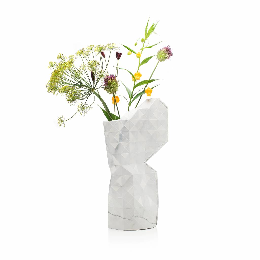Paper Vase Cover Marble White-1