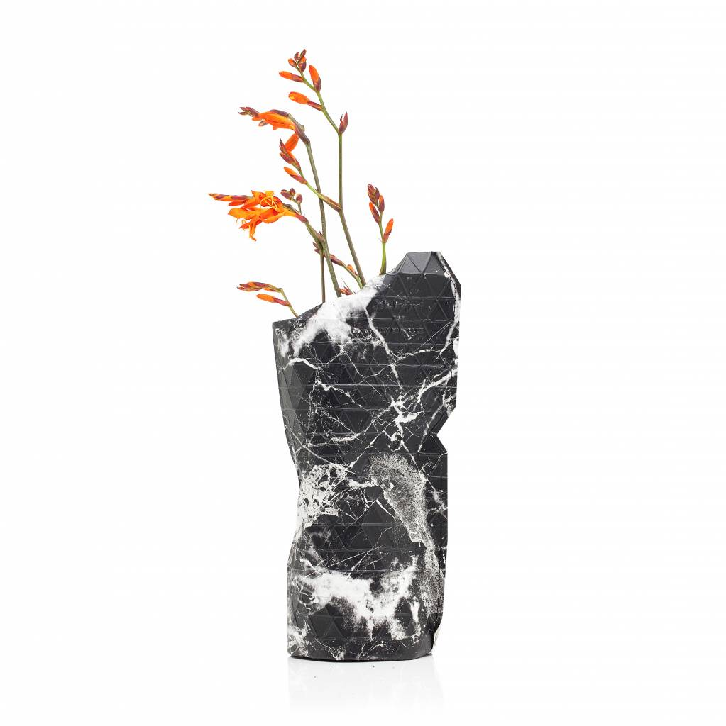 Paper Vase Cover Marble Black (small)-1