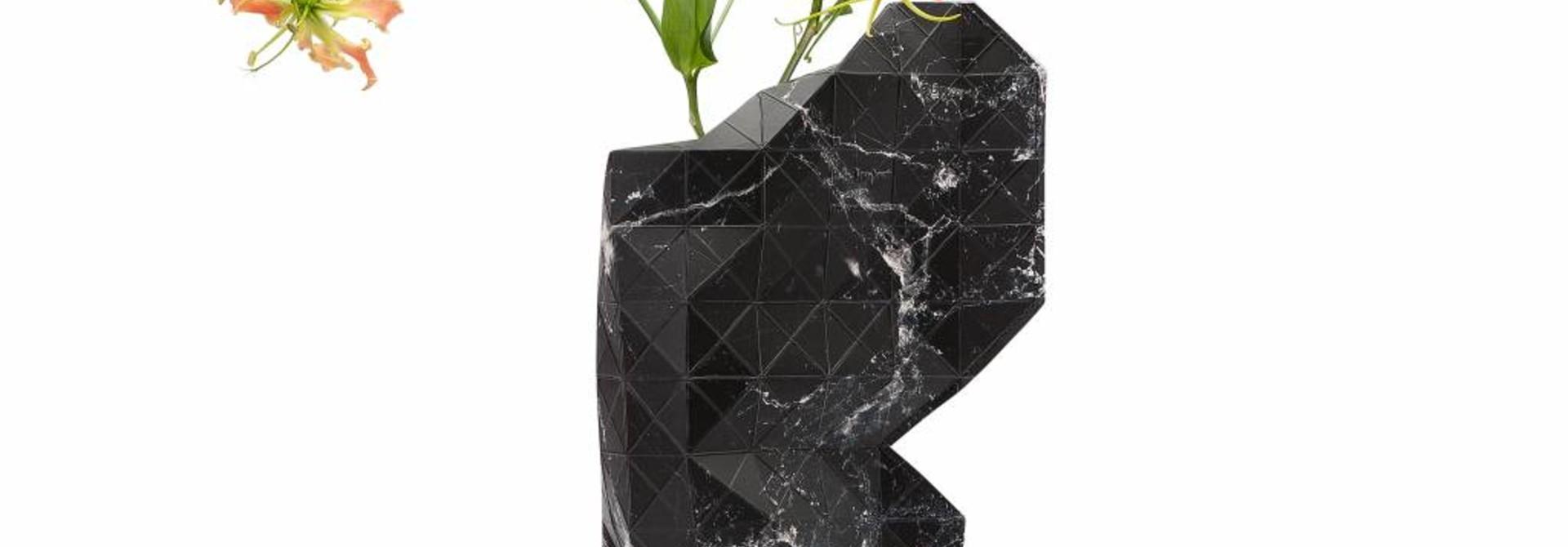 Papieren vaas Marble Zwart