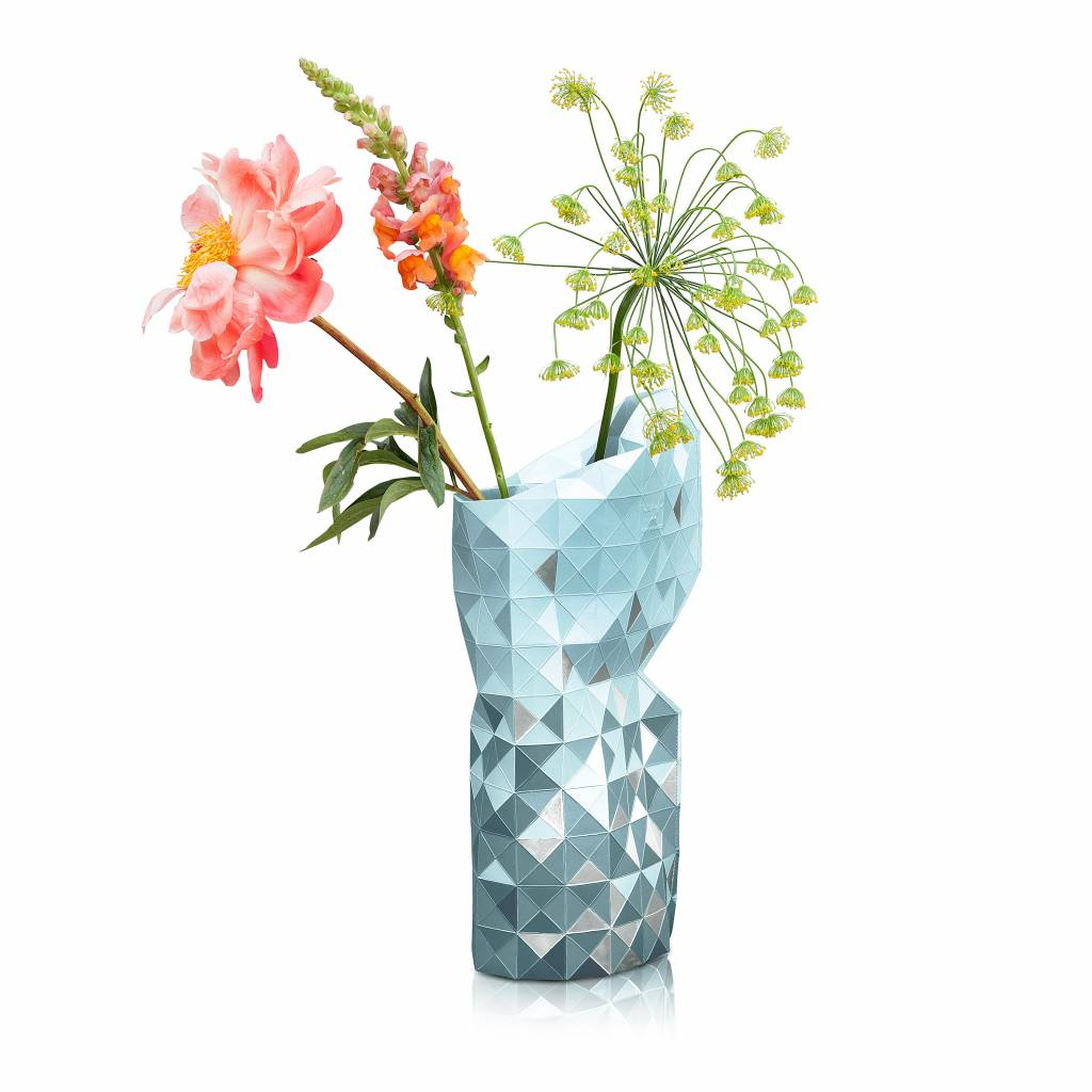 Paper Vase Cover Grey with Silver Segments-1