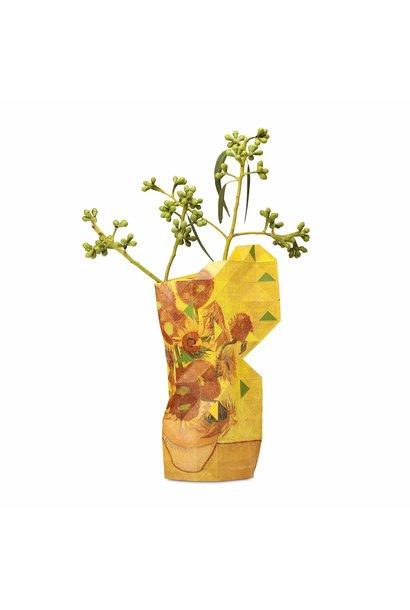 Papieren vaas zonnebloemen