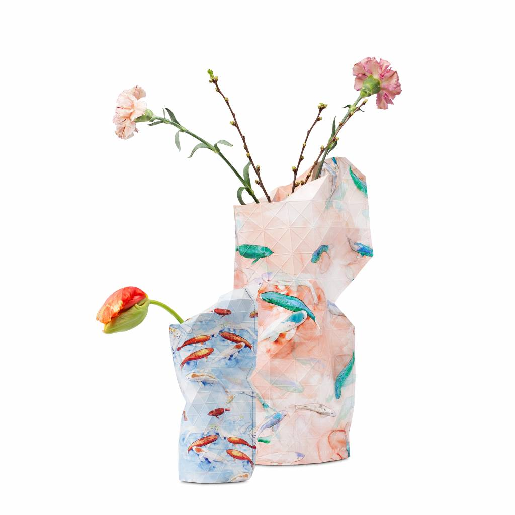 Paper Vase Cover Blue Fish (small)-3