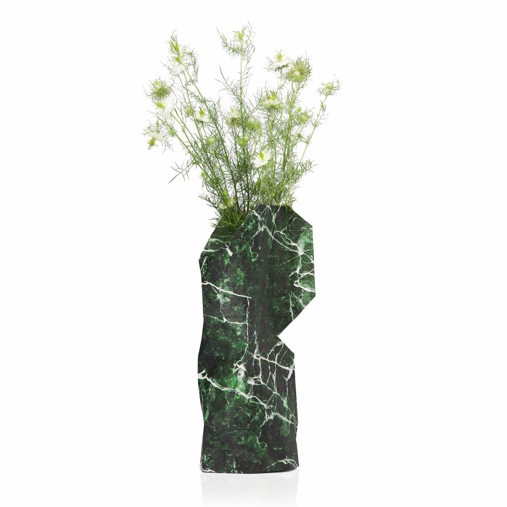 NEW: Paper Vase Cover Marble Green