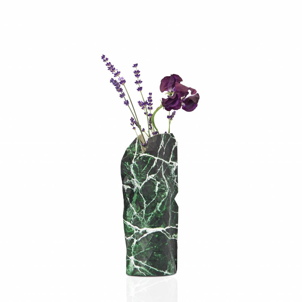 Paper Vase Cover Marble Green (small)-1