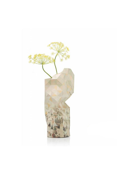Paper Vase Cover Winter Landscape with Ice Skaters