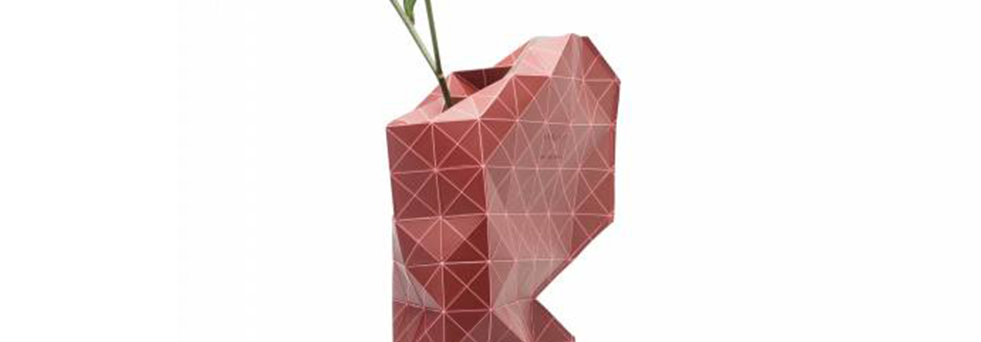 Paper Vase Cover Grid Red