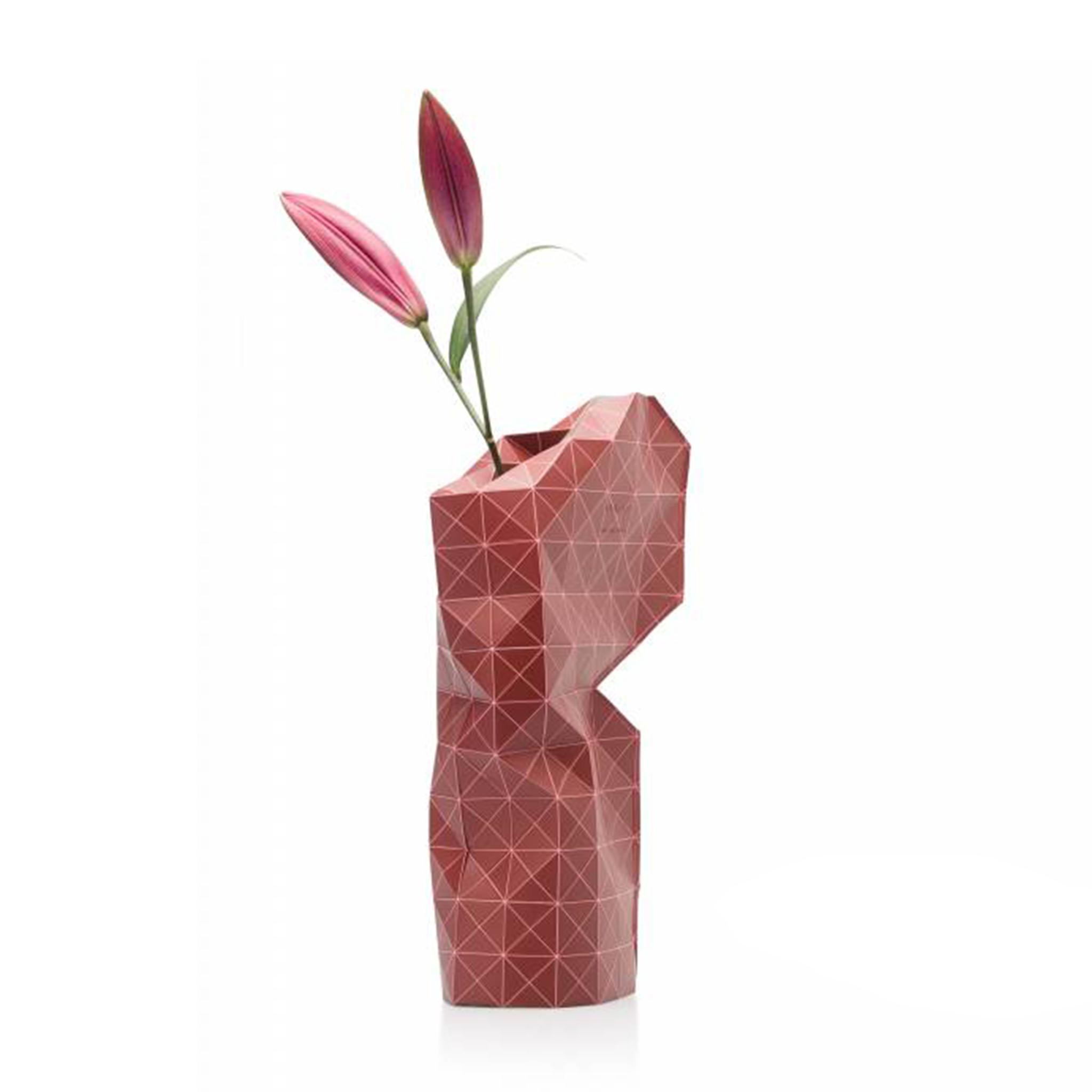 Paper Vase Cover Grid Red-1