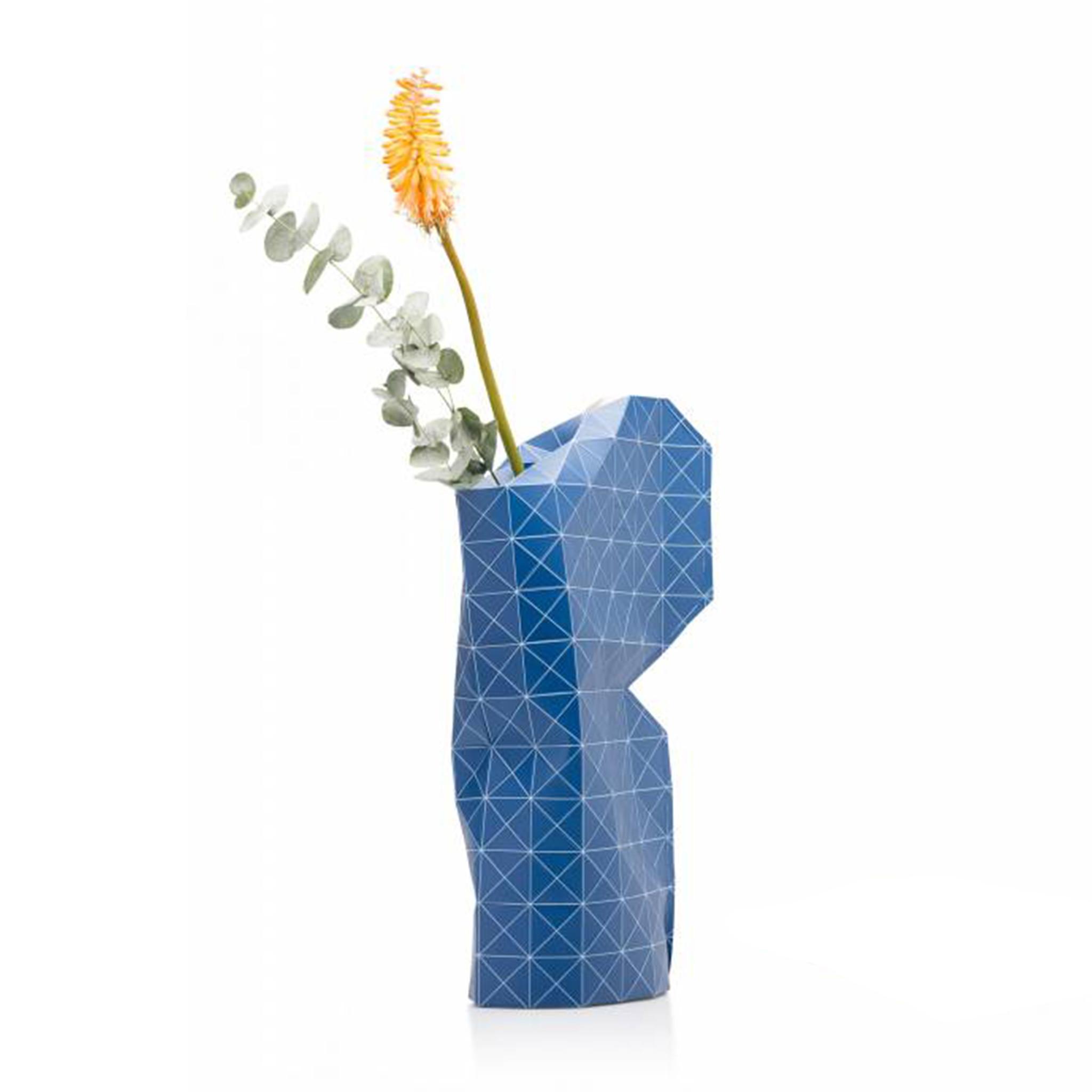 Paper Vase Cover Grid Blue-1