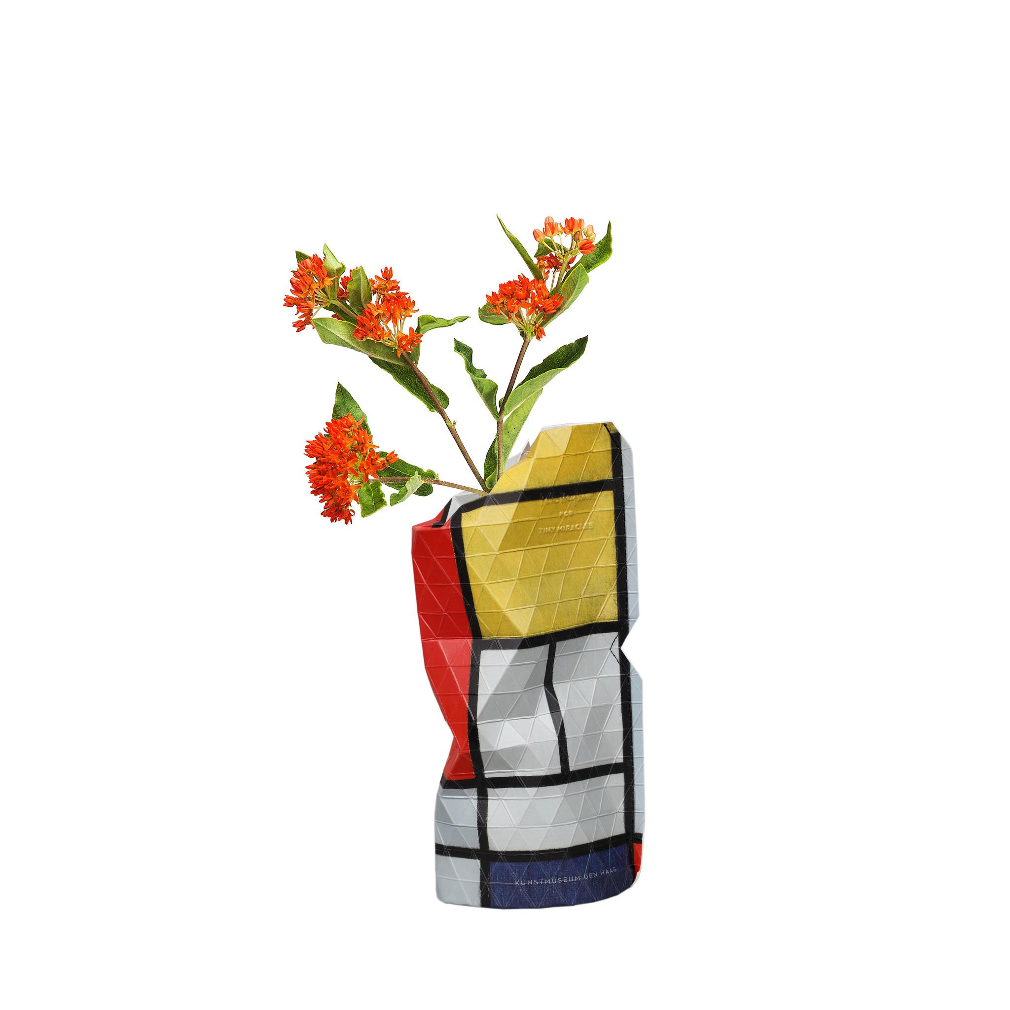 Papieren vaas Compositie Rood - Mondriaan (small)-1
