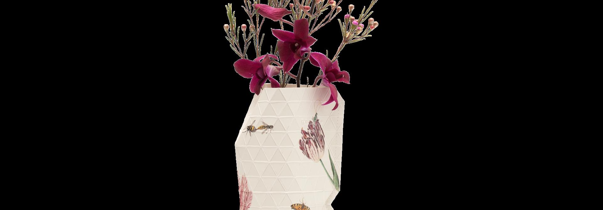 NIEUW: Papieren Vaas Vintage Tulips - Marrel (klein)