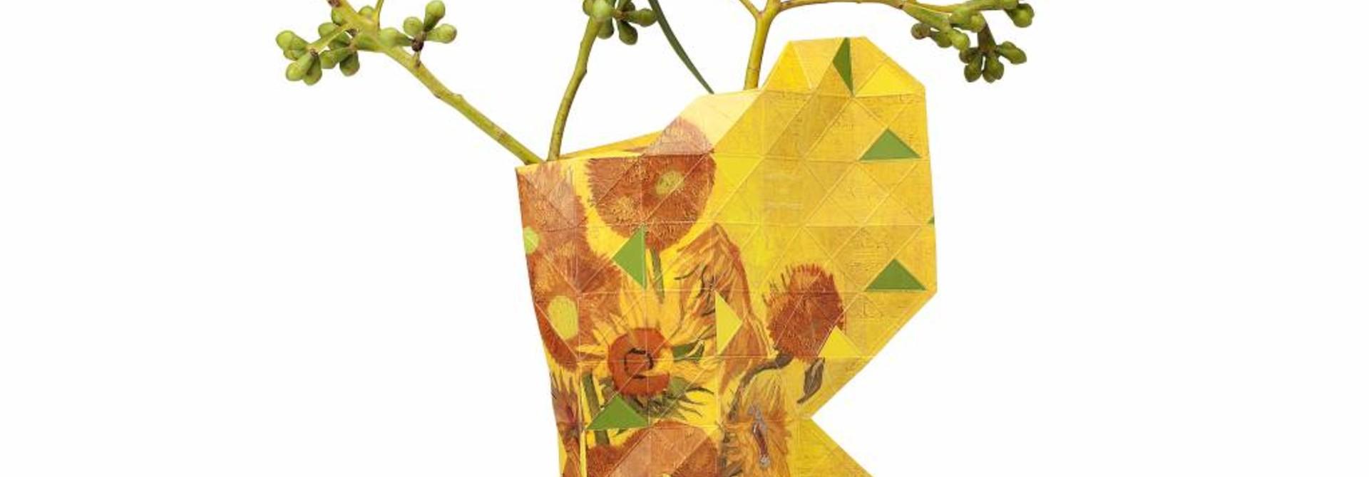 NIEUW: Papieren vaas zonnebloemen - klein