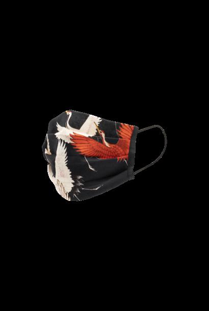Kraanvogels mondkapje set van 2 - Duurzaam, Wasbaar, Herbruikbaar - 2-laags Katoen - Ademend - Print