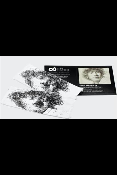 Rembrandt mondkapje set van 4 - Duurzaam, Wasbaar, Herbruikbaar - 2-laags Katoen - Ademend - Print - Copy