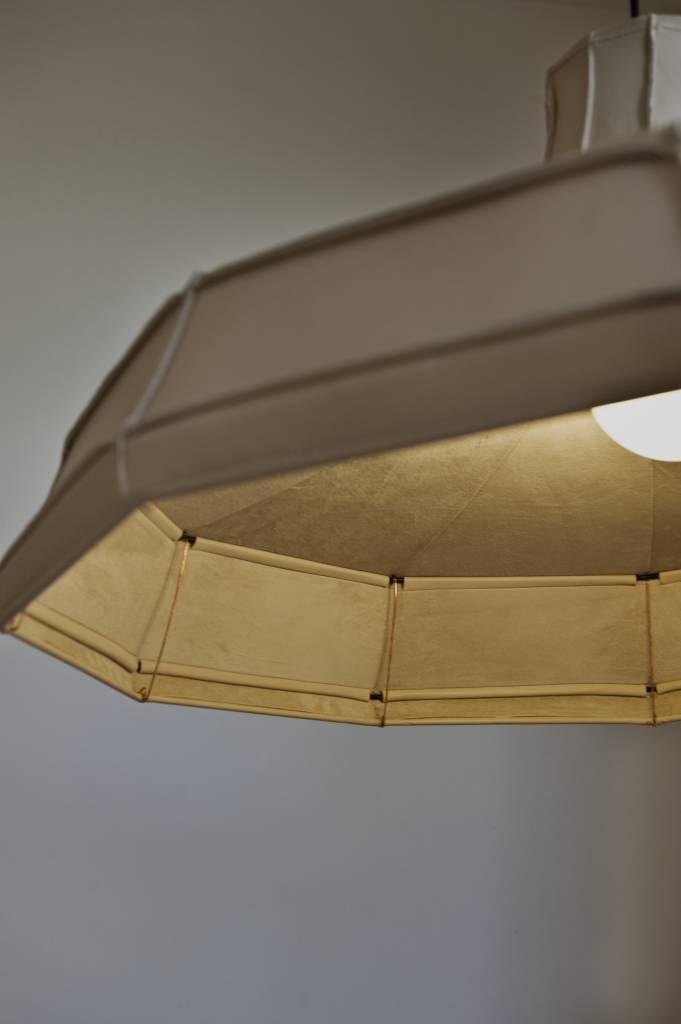 Leren lampenkap horizontaal Grijs-2
