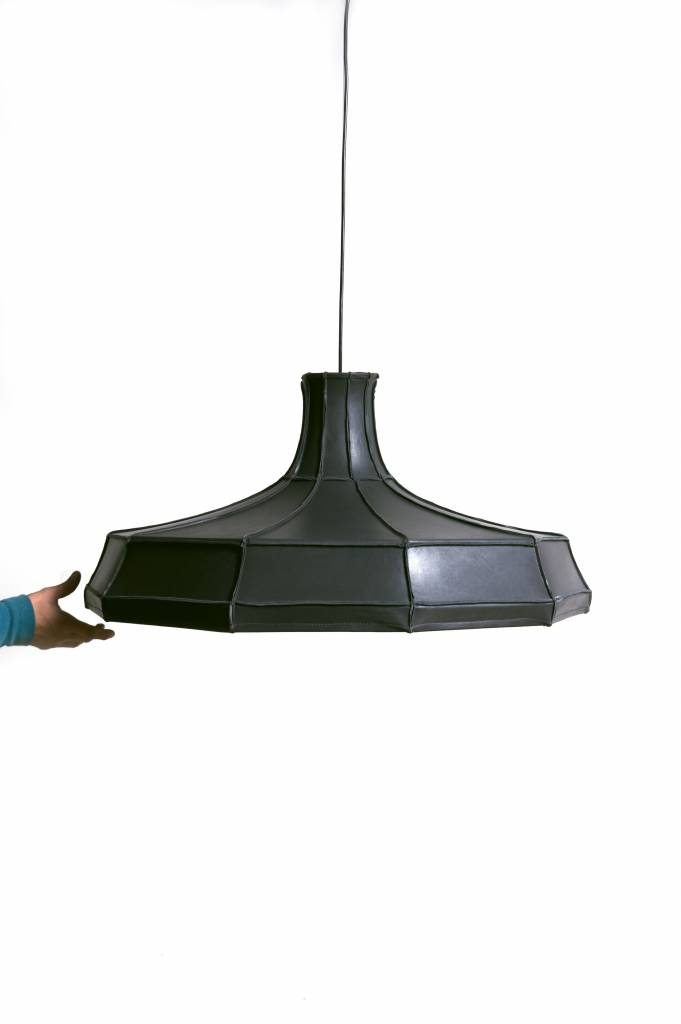 Leather Lampshade Horizontal Grey-8