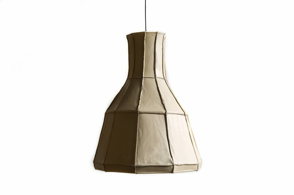 Leather Lampshade Vertical Beige-1