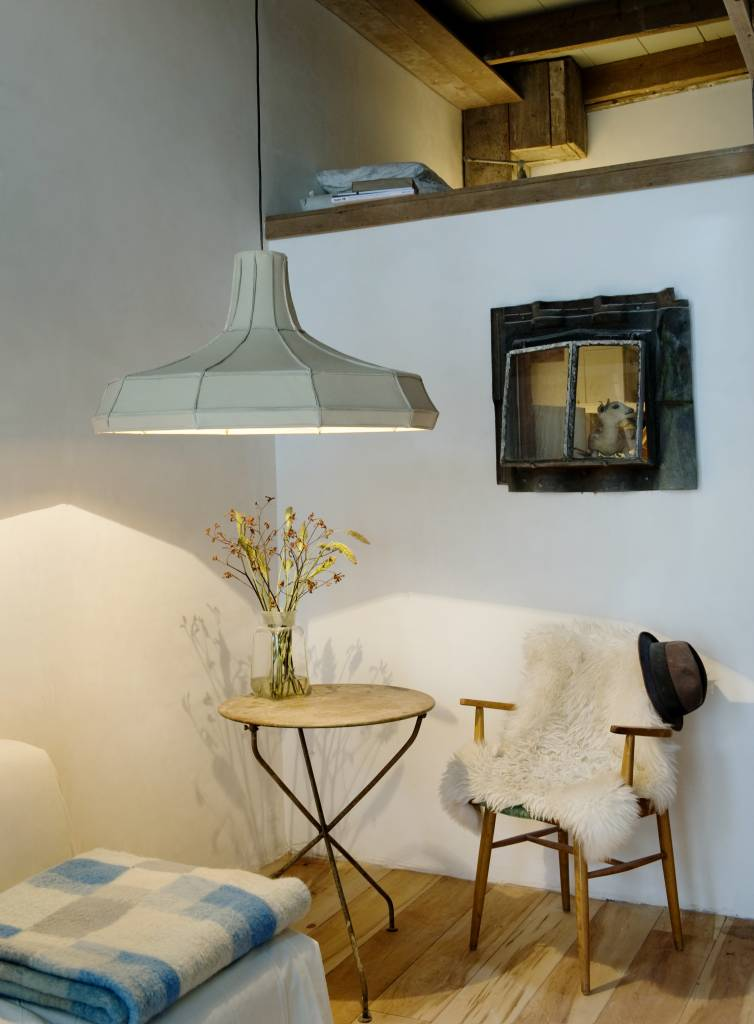 Leather Lampshade Vertical Beige-6
