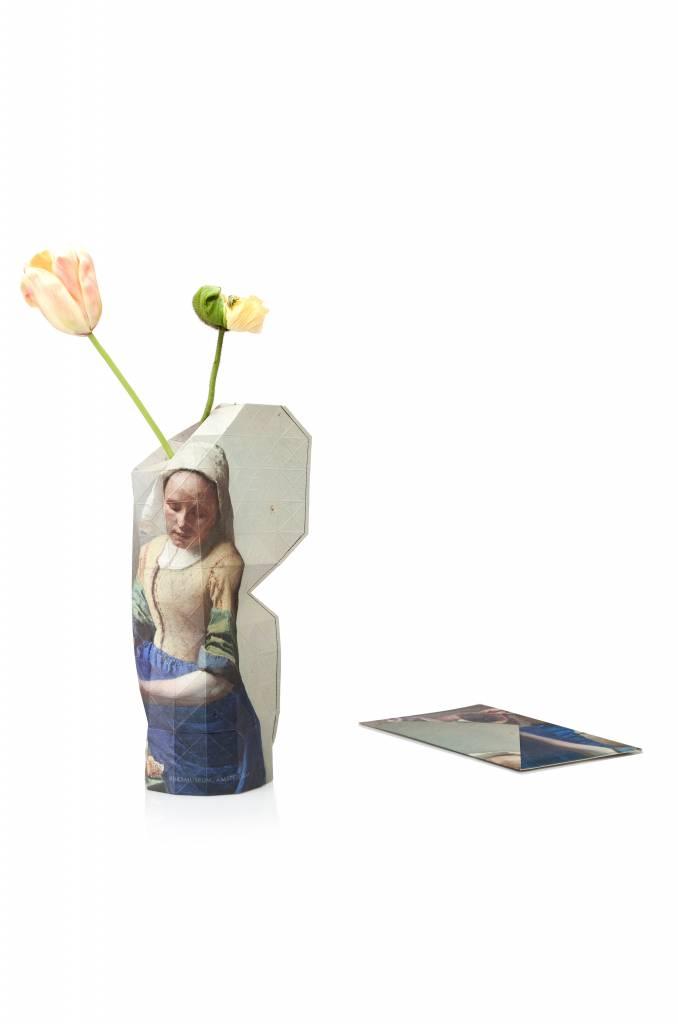 Papieren vaas het Melkmeisje Vermeer-2