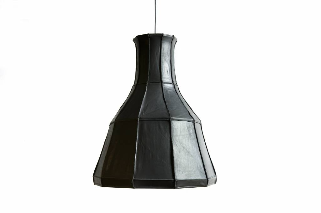 Leather Lampshade Vertical Grey-1