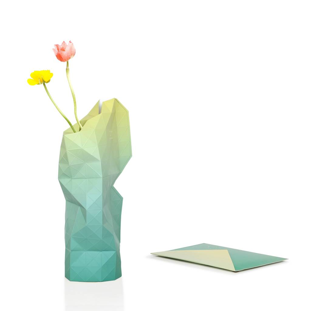 Paper Vase Cover Green Fade-1